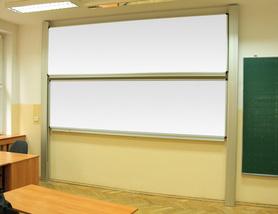 Tablica akademicka zależna biała suchościeralna, magnetyczna, ceramiczna P3  100x360 cm