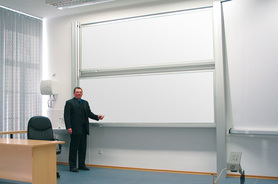 Tablica akademicka niezależna biała suchościeralna, magnetyczna 120x300 cm