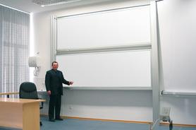 Tablica akademicka niezależna biała suchościeralna, magnetyczna 100x360 cm