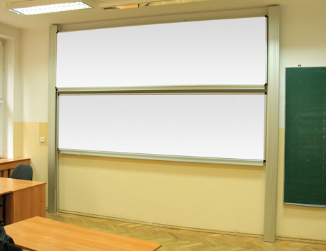 Tablica akademicka zależna biała suchościeralna, magnetyczna, ceramiczna P3 120x300 cm (1)