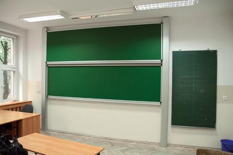 Tablica akademicka zależna zielona do kredy, magnetyczna, ceramiczna P3 100x360 cm (1)