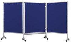 Mobilny tryptyk parawanowy-tekstylny (niebieski - unijny) 100x120 cm (3 ścianki)
